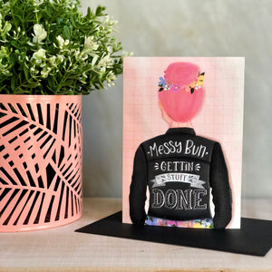 Messy Bun Greeting Notecard