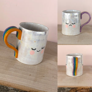 Happy and sad face hand painted mug