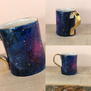 Gold lustre galaxy hand painted mug