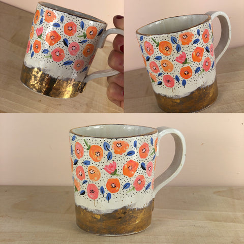 Orange poppy hand painted mug with real gold lustre
