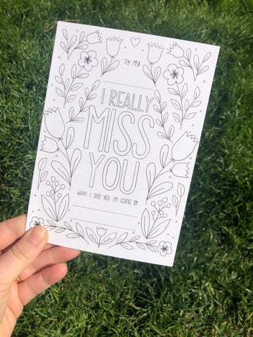 I Really Miss You Lockdown Colouring Card