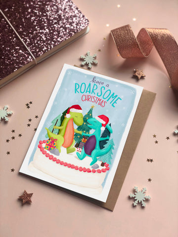 Roarsome Christmas children's Christmas card