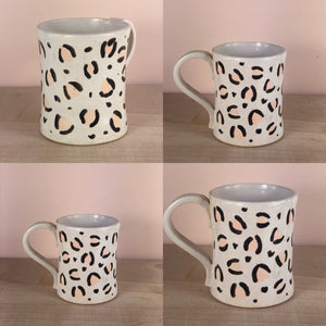 Leopard print hand thrown hand painted mug