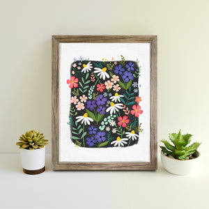 Wildflowers hand illustrated print