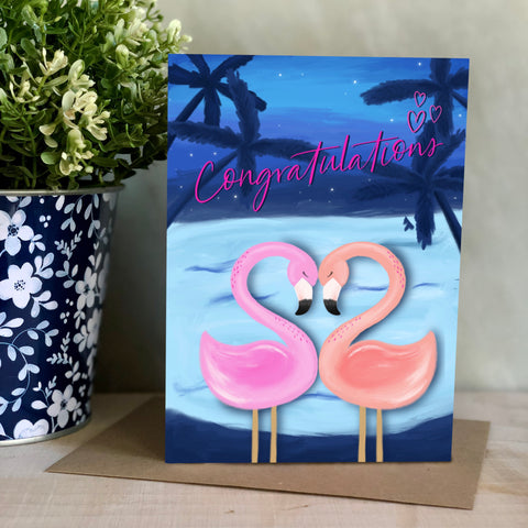 Congratulation Flamingo engagement and wedding card