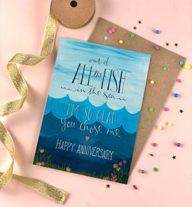 All the fish in the sea anniversary card