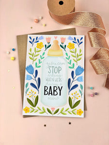 Stop Asking New baby Pregnancy announcement card