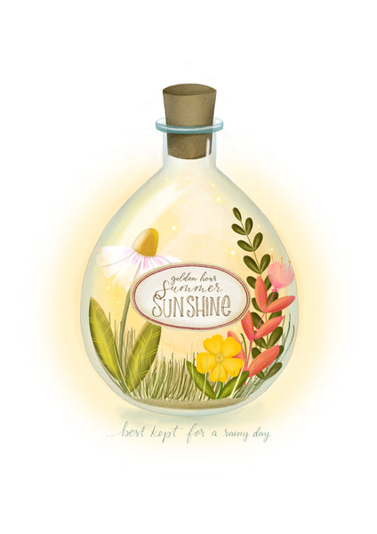 Bottled Summer Sunshine hand illustrated print