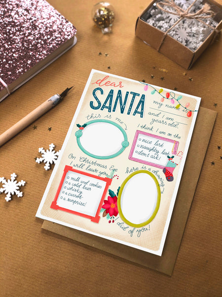 Personalised Santa List Christmas card