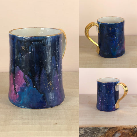 Gold lustre galaxy hand painted mug with drips