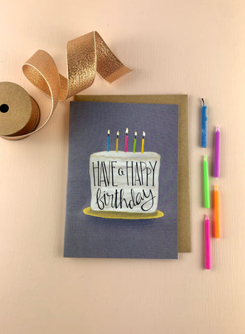 Happy birthday cake birthday card