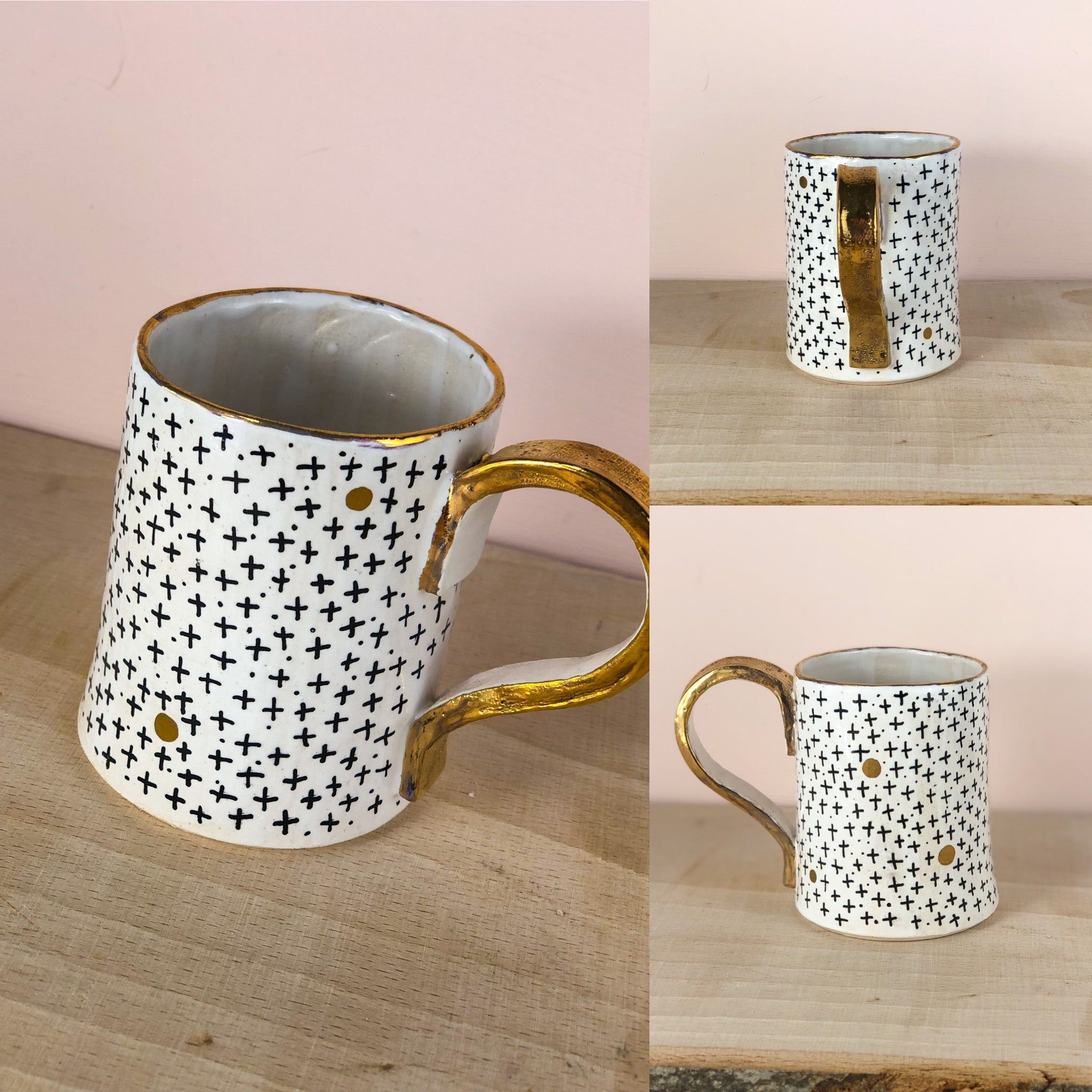 Gold lustre geometric hand painted mug