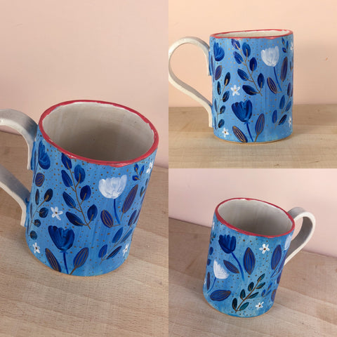 Blue and pink floral hand painted mug