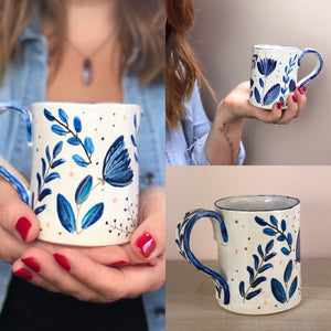 Beautiful blue floral hand thrown hand painted mug
