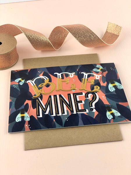 Bee Mine valentines and love card