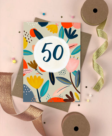 Fifitieth Birthday Floral Milestone Card Fifty