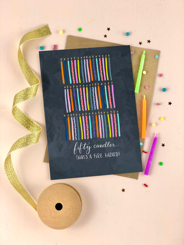 Fiftieth Birthday Candles Happy Birthday Card Fifty