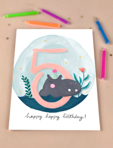 Fifth Birthday Kid's Hippo Birthday Card Five