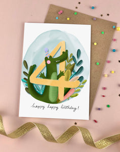 Fourth Birthday Kid's Crocodile Birthday Card Four
