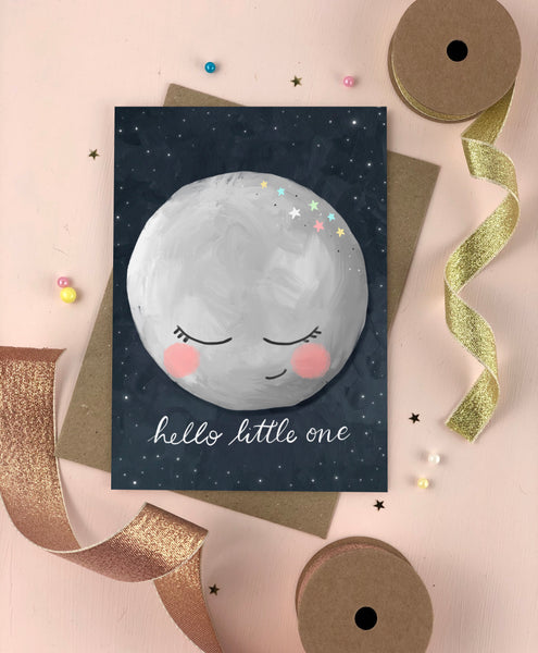 Hello Little One Moon New baby card