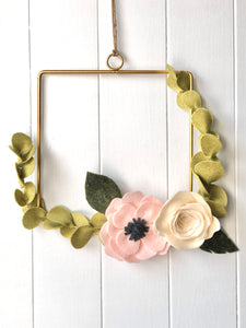 Pretty Shabby Rose and Anenome Handmade Felt Wreath Wall Hanging