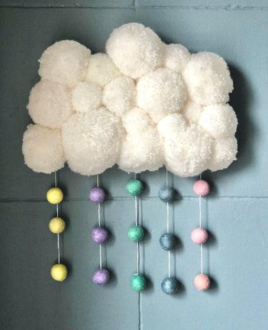 Handmade Pom Pom Cloud with Rainbow felt ball rain wall hanging