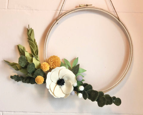 Handmade Harvest Felt Flower Wreath