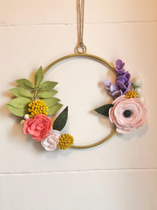 Summer Bloom handmade felt flower wreath