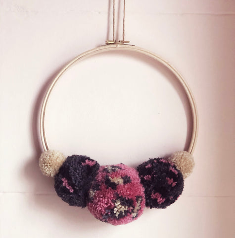 Hand Made Leopard Print Pom Pom Wreath