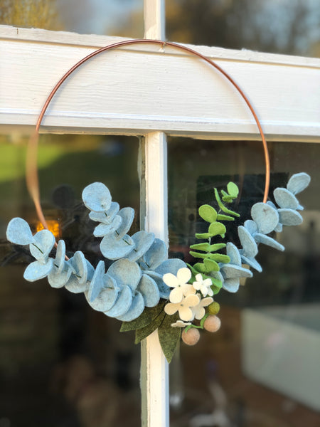 Hand made Copper and Eucalyptus Decorative Felt Wreath