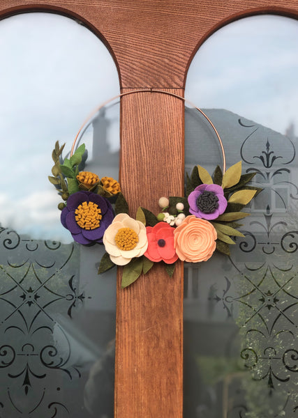 Spring Blooms Handmade Felt Flower Copper Wreath