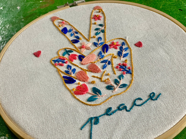 DIY Floral Peace Sign embroidery kit