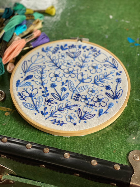 DIY Floral Inky Blue embroidery kit
