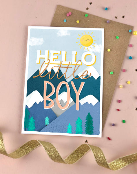 Hello Little Boy New baby card