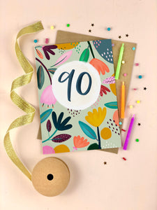 Ninetieth Birthday Floral Milestone Card Ninety