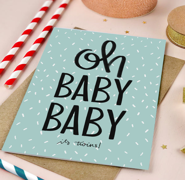 Oh Baby Baby It's Boy Twins New Baby Card