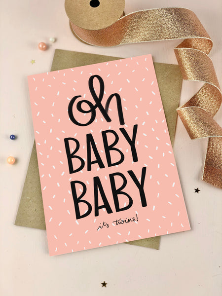 Oh Baby Baby It's Girl Twins New Baby Card