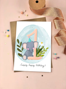 First Birthday Elephant Birthday Card One