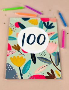 One Hundredth Birthday Floral Milestone Card One Hundred