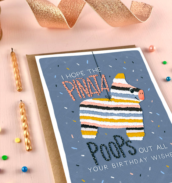 Piñata Poop Kids and Adults Birthday Card
