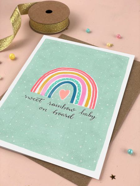 Sweet rainbow baby New baby and announcement card