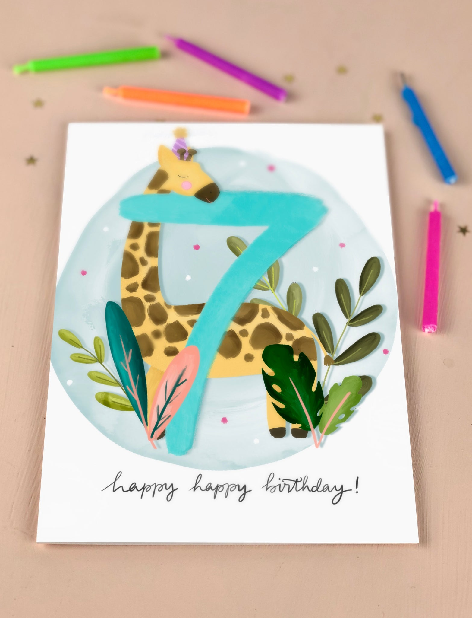 Seventh Birthday Kid's Giraffe Birthday Card Seven