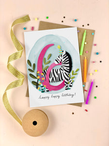 Sixth Birthday Kid's Zebra Birthday Card Six