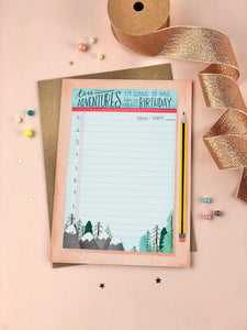 Ten Things Birthday Adventure Keepsake Card