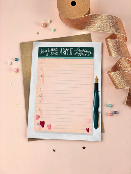 Ten Things I Love You Keepsake Card