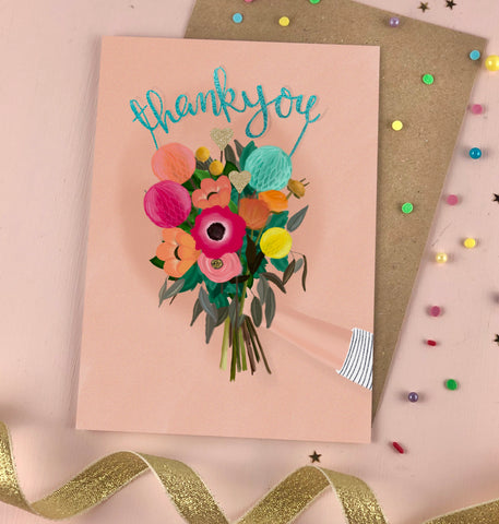 Thank you Bouquet flittered card