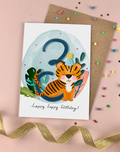 Third Birthday Kid's Tiger Card Three