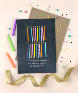 Twenty First Birthday Candles Happy Birthday Card Twenty One