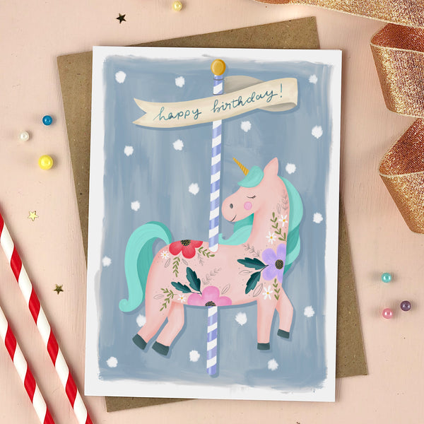 Unicorn Carousel Birthday Card