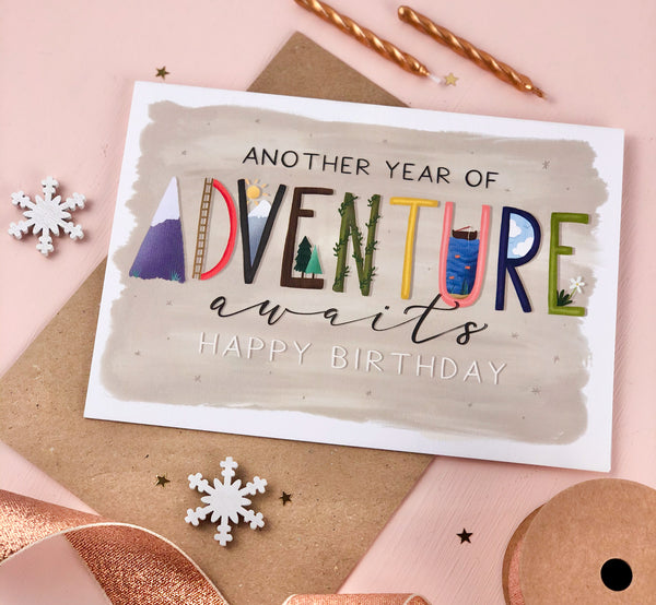 Adventure Awaits Kids and Adults Birthday Card